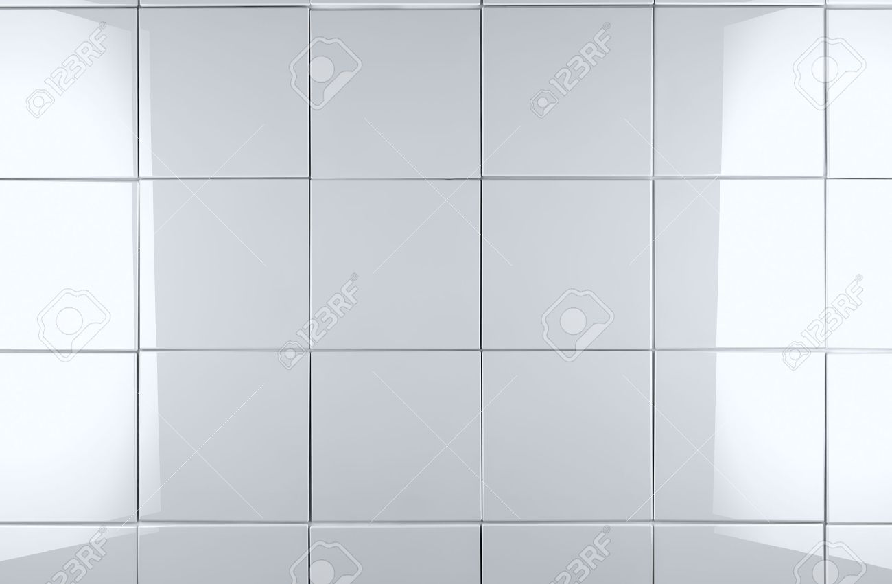 3d white tile wall background - 18585879