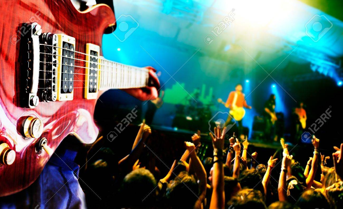 Pics photos rock concert background - Music Live Background Guitar Player And Public Stock Photo 18584757