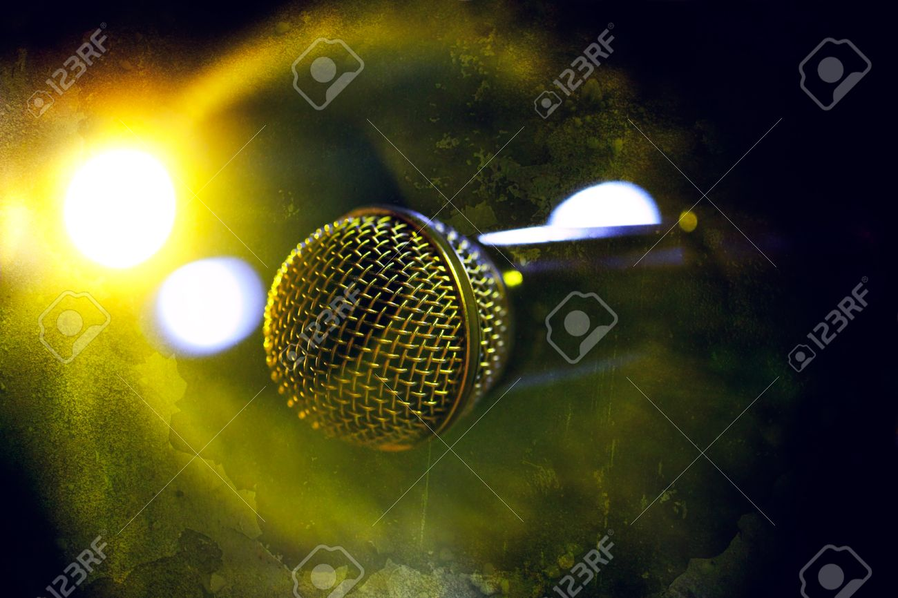 Musical background.Microphone in old style Stock Photo - 18586140