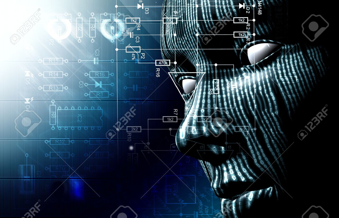 Background with binary code and face. Background of technology and hacker - 26870321