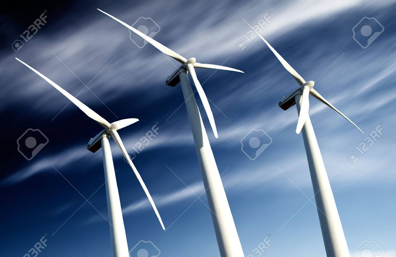 powerful and ecological energy concept .Industrial Eolic installation .wind mills - 26870372
