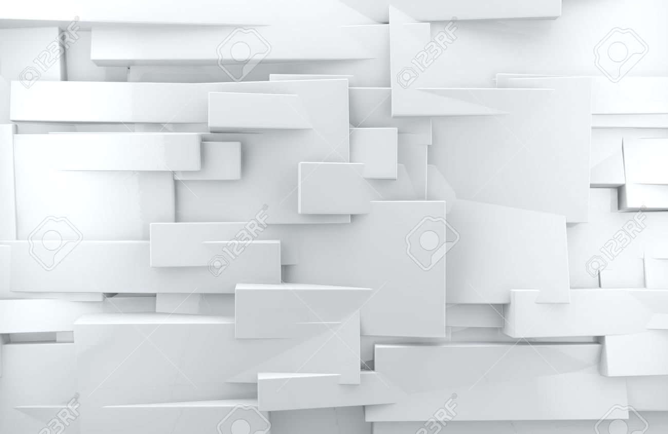 abstract architectural,White abstract wall with shiny cubes - 26870382