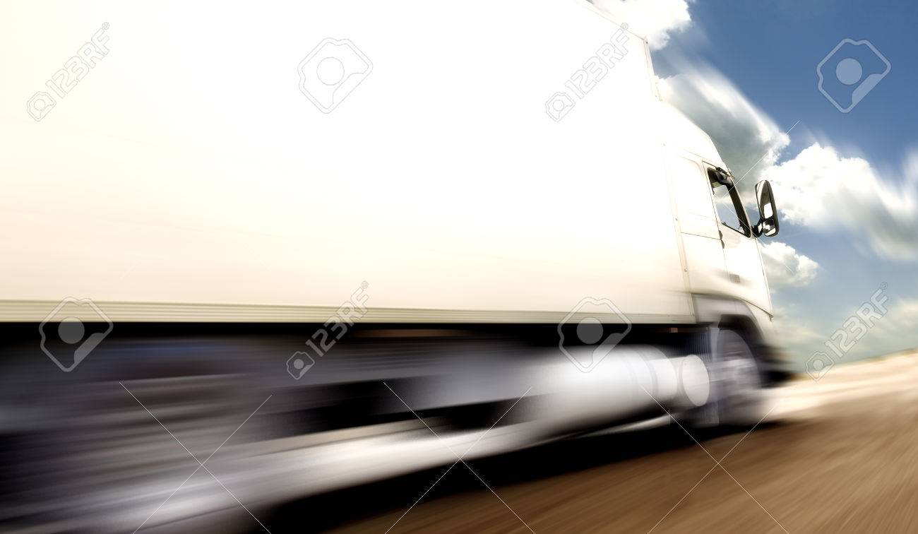 truck speed. Trucks delivering merchandise - 26870464