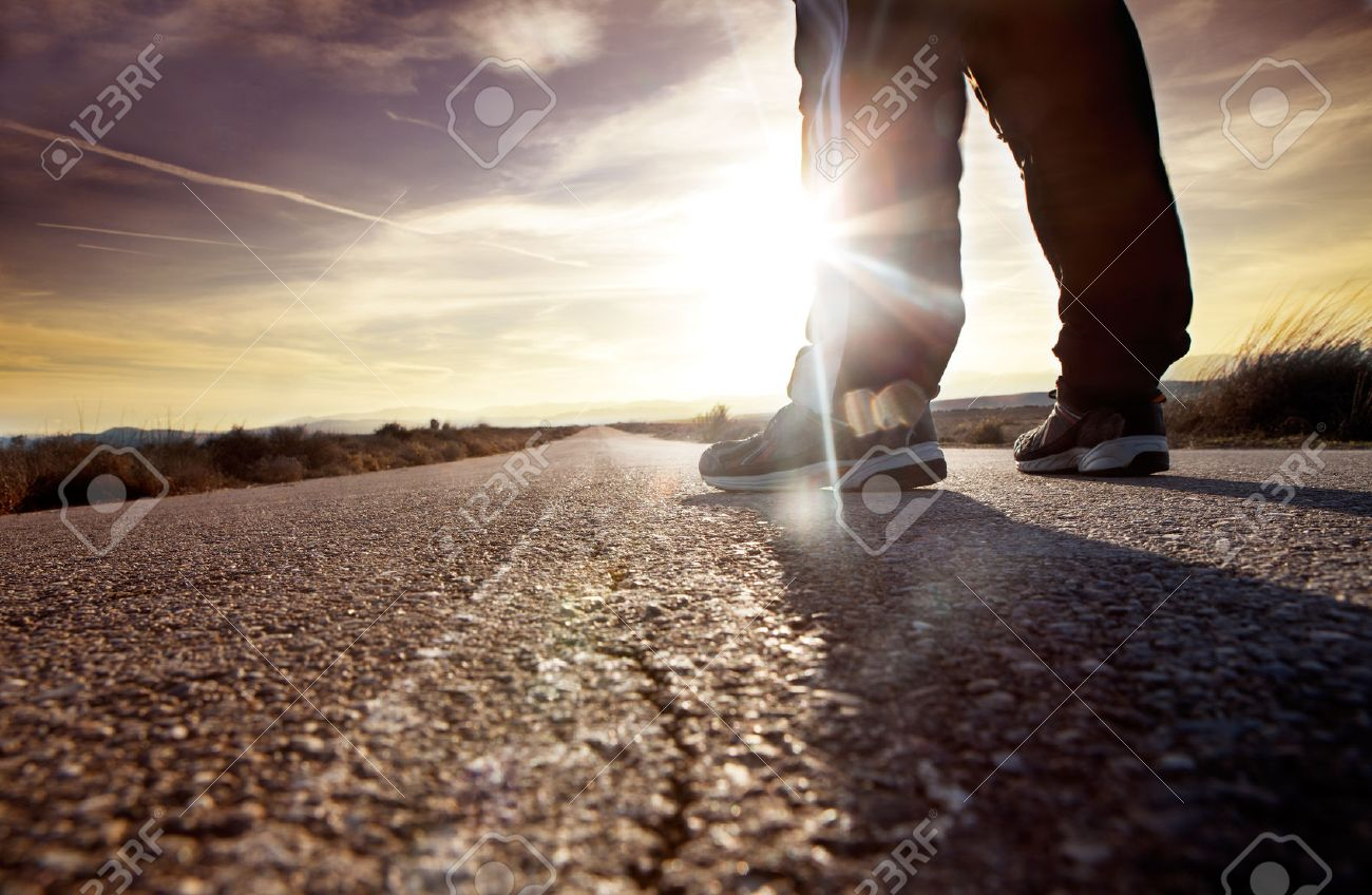 anonymous man on the road and sunset landscape.travel concept - 26870478