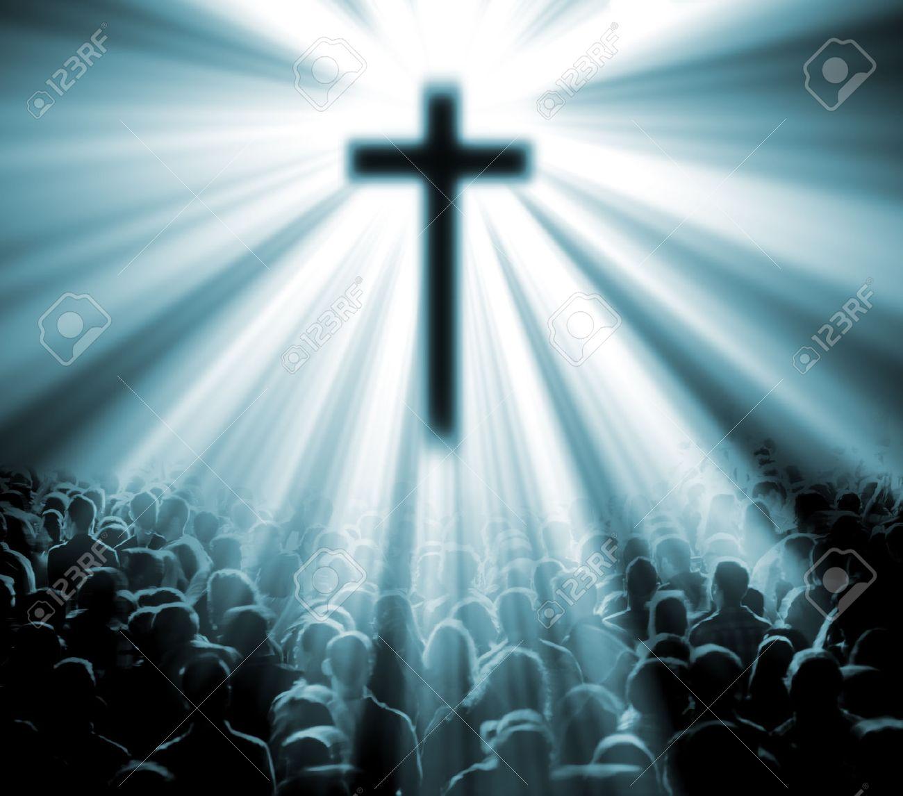 Christlichen Religion Illustration Mit Kreuz Christi Und Gläubigen
