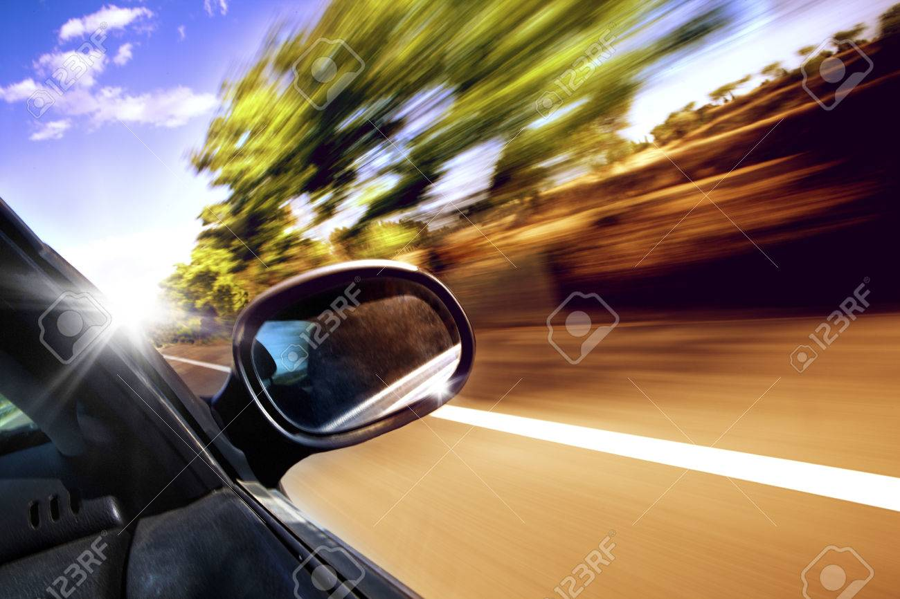 Car travel concept. Rearview and non urban road - 40226864