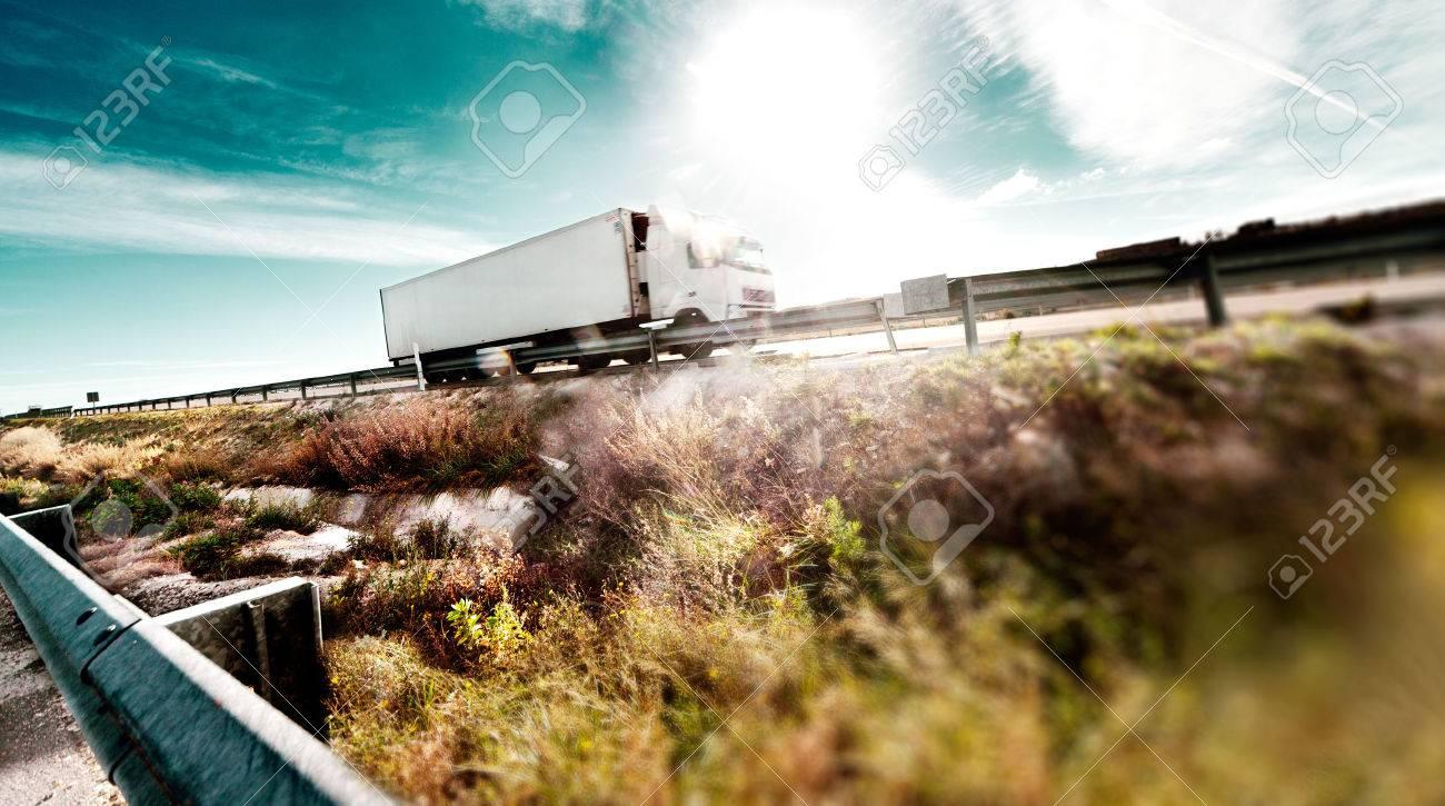 International forwarding.Trucks carrying goods and highway - 41058527