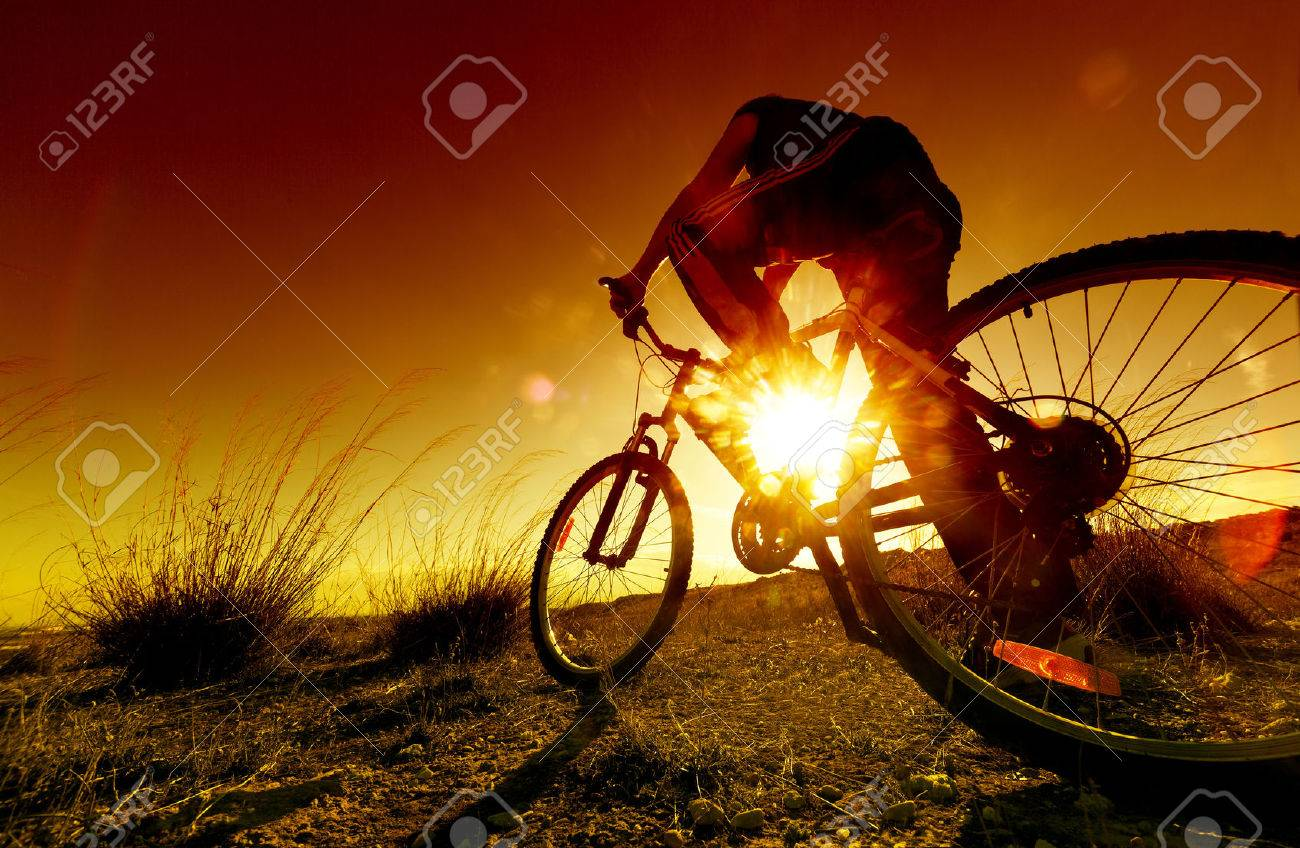 Dreamy sunset and healthy life.Fields and bicycle - 40977050