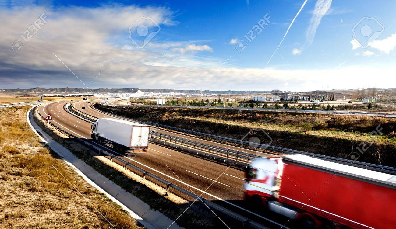 International forwarding.Trucks carrying goods and highway - 41062628