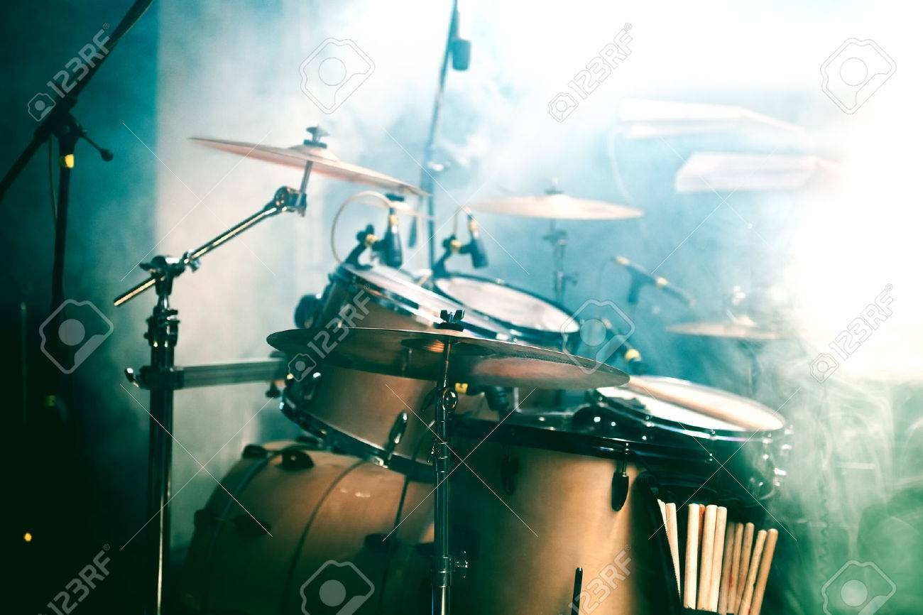 Live music background. Drum on stage - 41059690