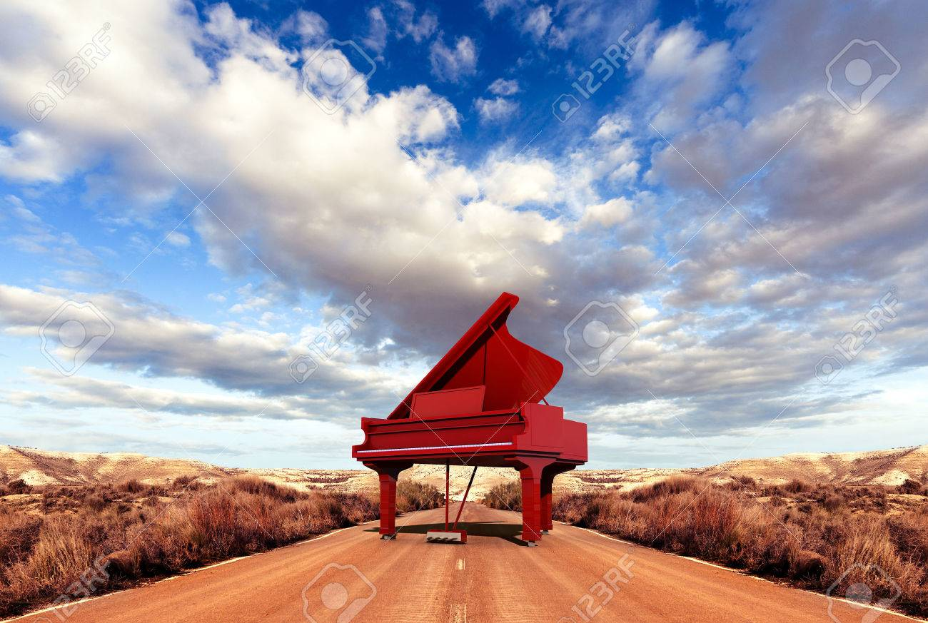 music concept scenery and piano on the road stock photo picture and