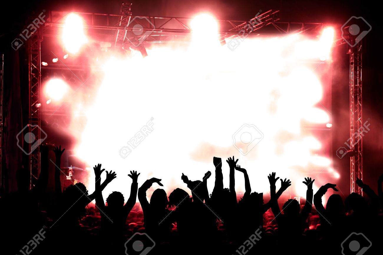 Live music background. Silhouettes of public and concert - 41012368