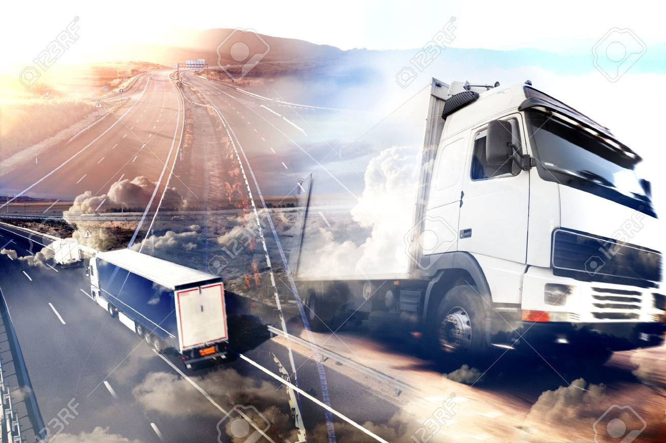 Abstract background Trucks and transport.Highway and delivering. - 50030446