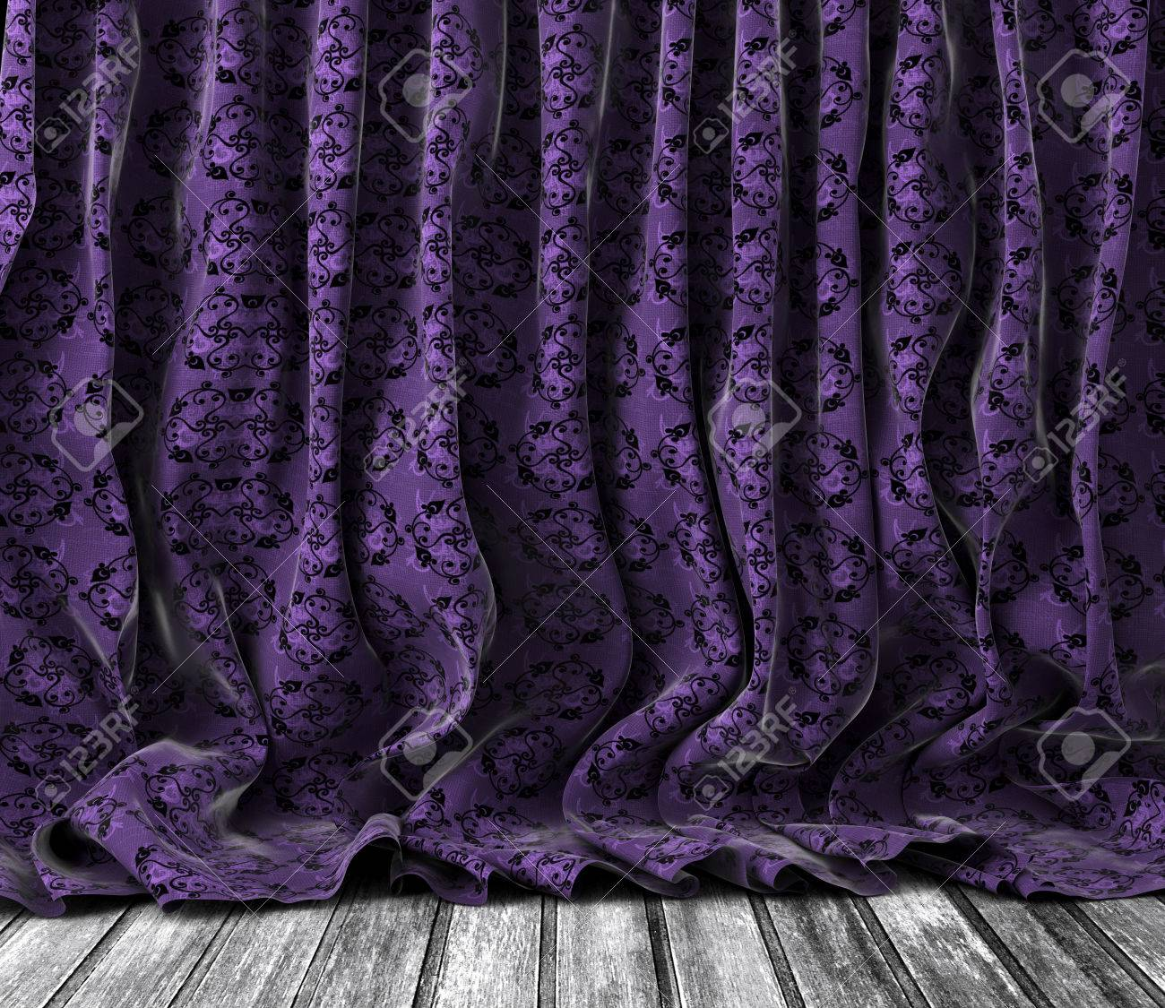 Curtains texture - Background Old Vintage Floral Curtains In Purple Toned Wood Floor Texture Stock Photo