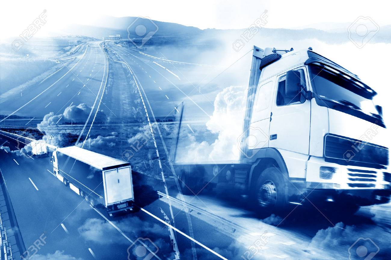 Abstract background Trucks and transport.Highway and delivering. - 50030412