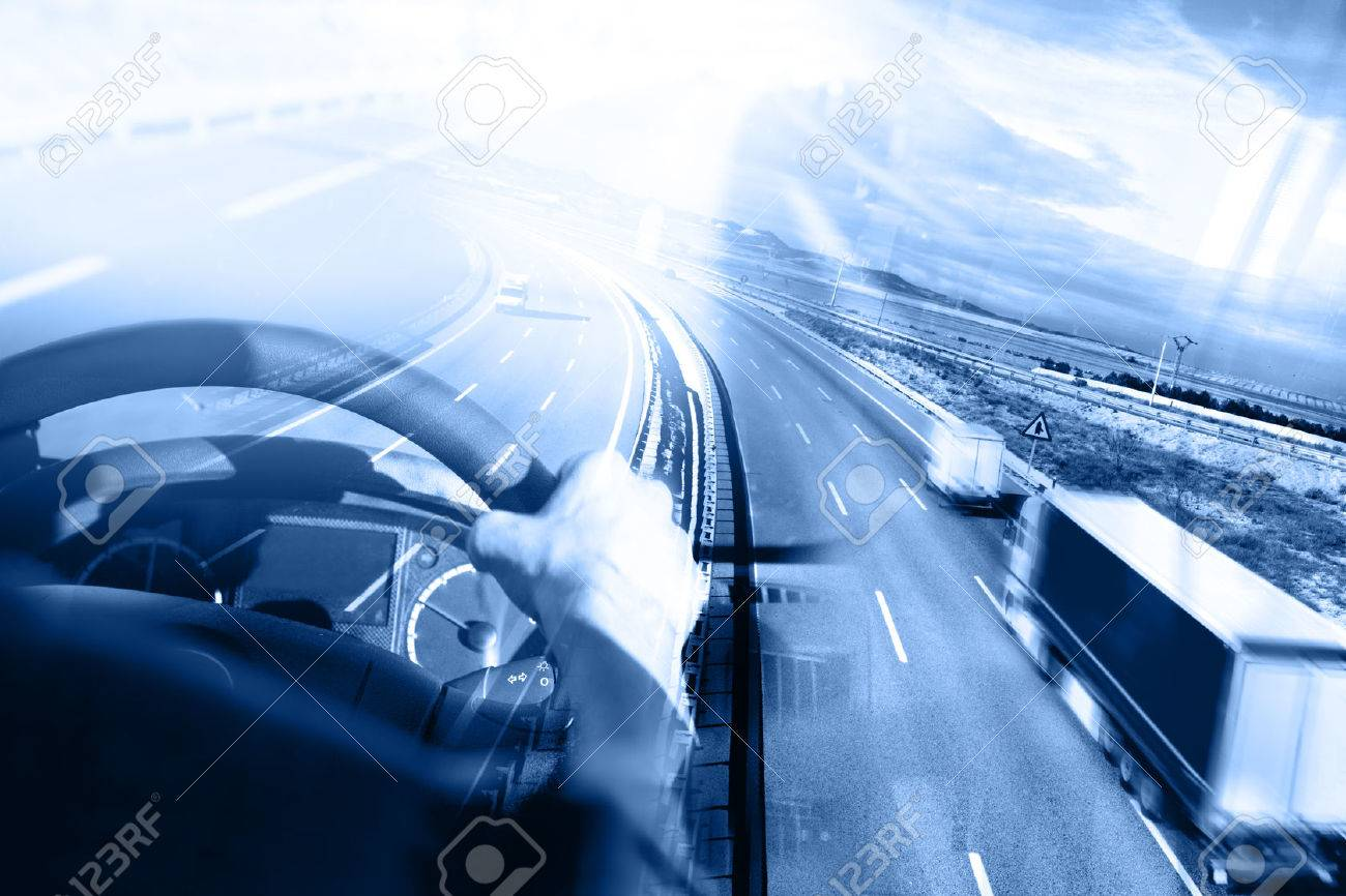 Abstract background Trucks and transport.Highway and delivering. Stock Photo - 50030385
