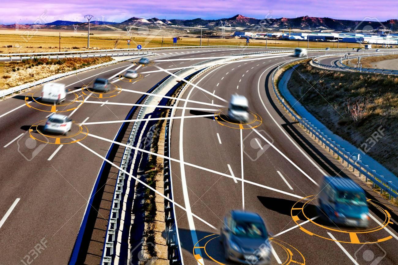 autonomous car and self driving concept.Intelligent transport background - 97590755