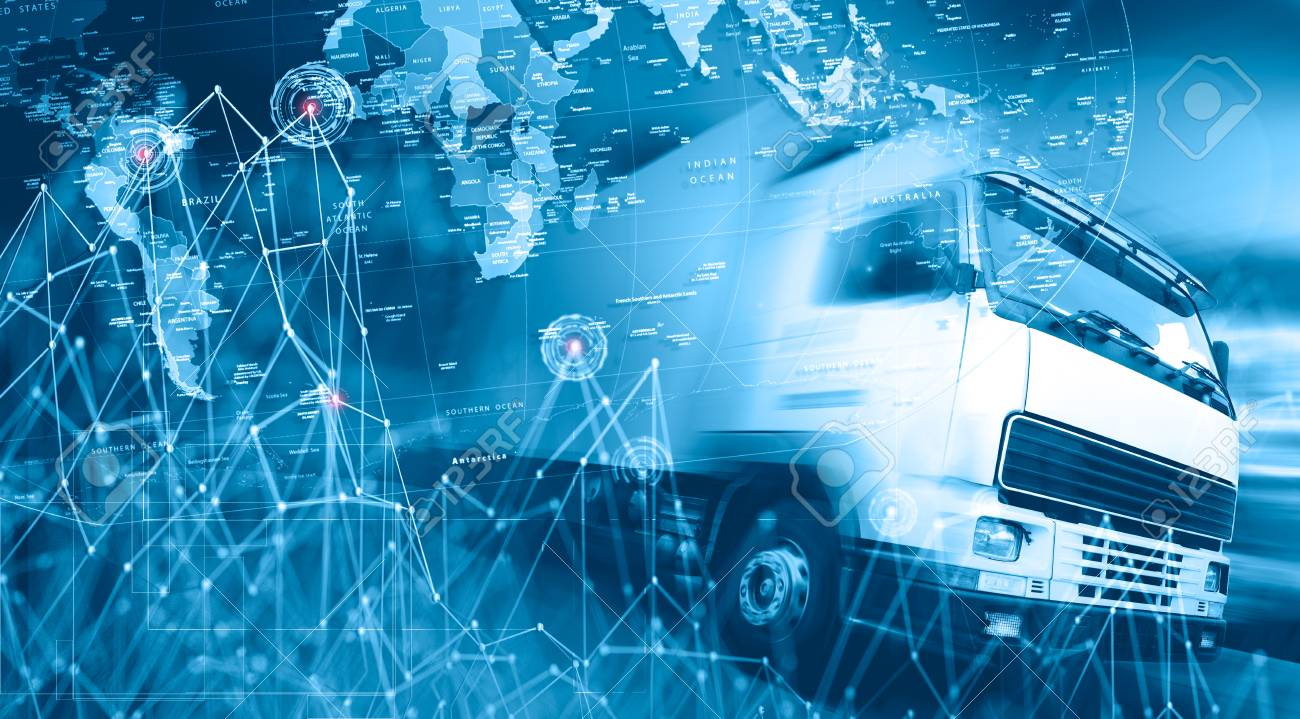 Abstract background Trucks,lorry and freight for transport concept.Highway and delivering. - 123595652