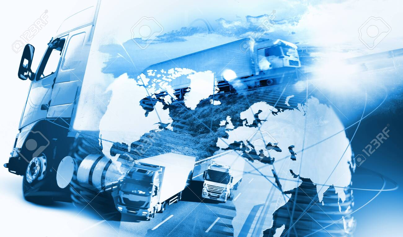 Abstract design background Trucks and lorry transport.Highway and delivering.World map and international freight - 148191486