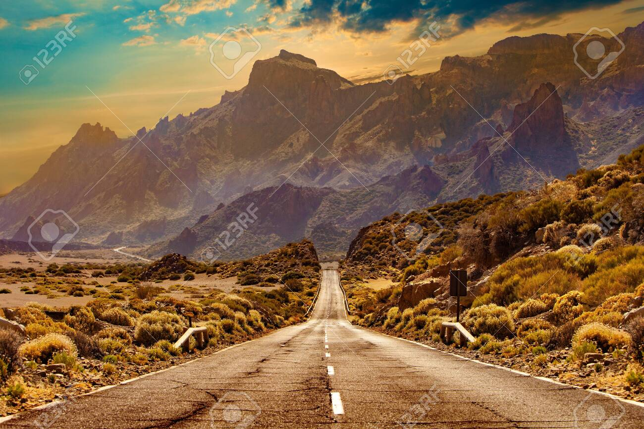 Road through the scenic landscape to the destination in Tenerife natural park. - 148193850