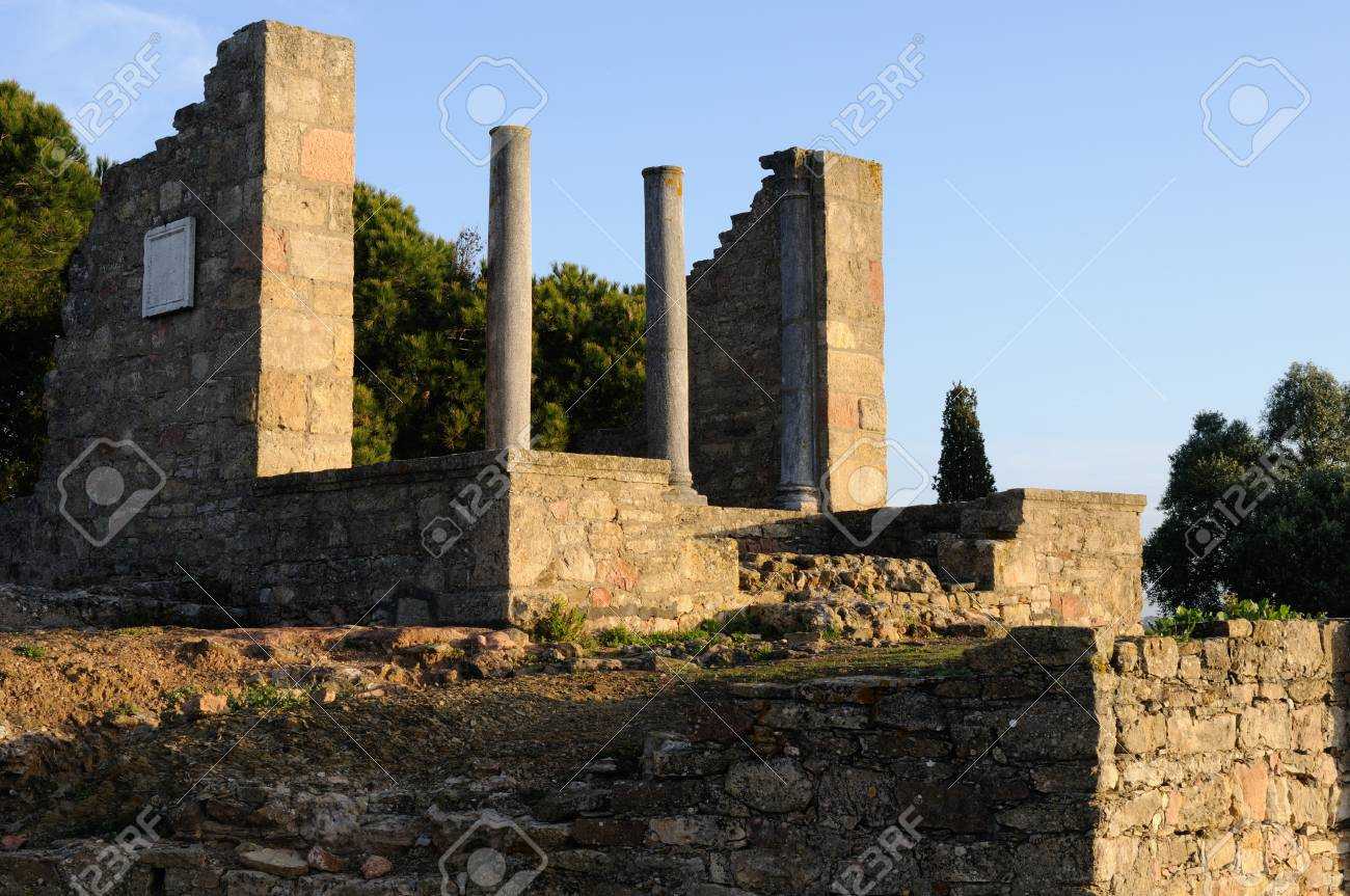 Temple dedicated  Imperial Cult of the Roman city of  MIROBRIGA  (1st -4 th AD) SANTIAGO DO CACEM  Alentejo Region  PORTUGAL Stock Photo - 12142596