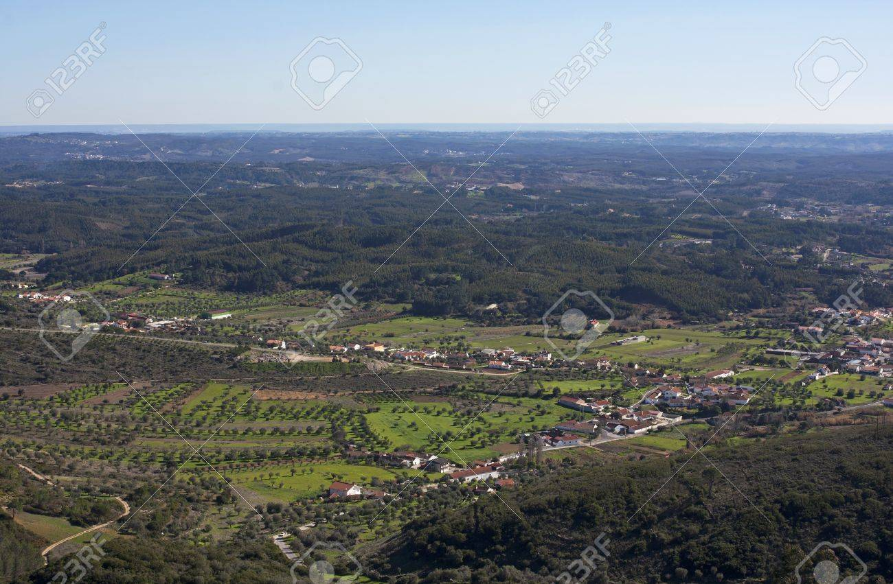 aerial view over rural landscape of rio maior portugal stock photo