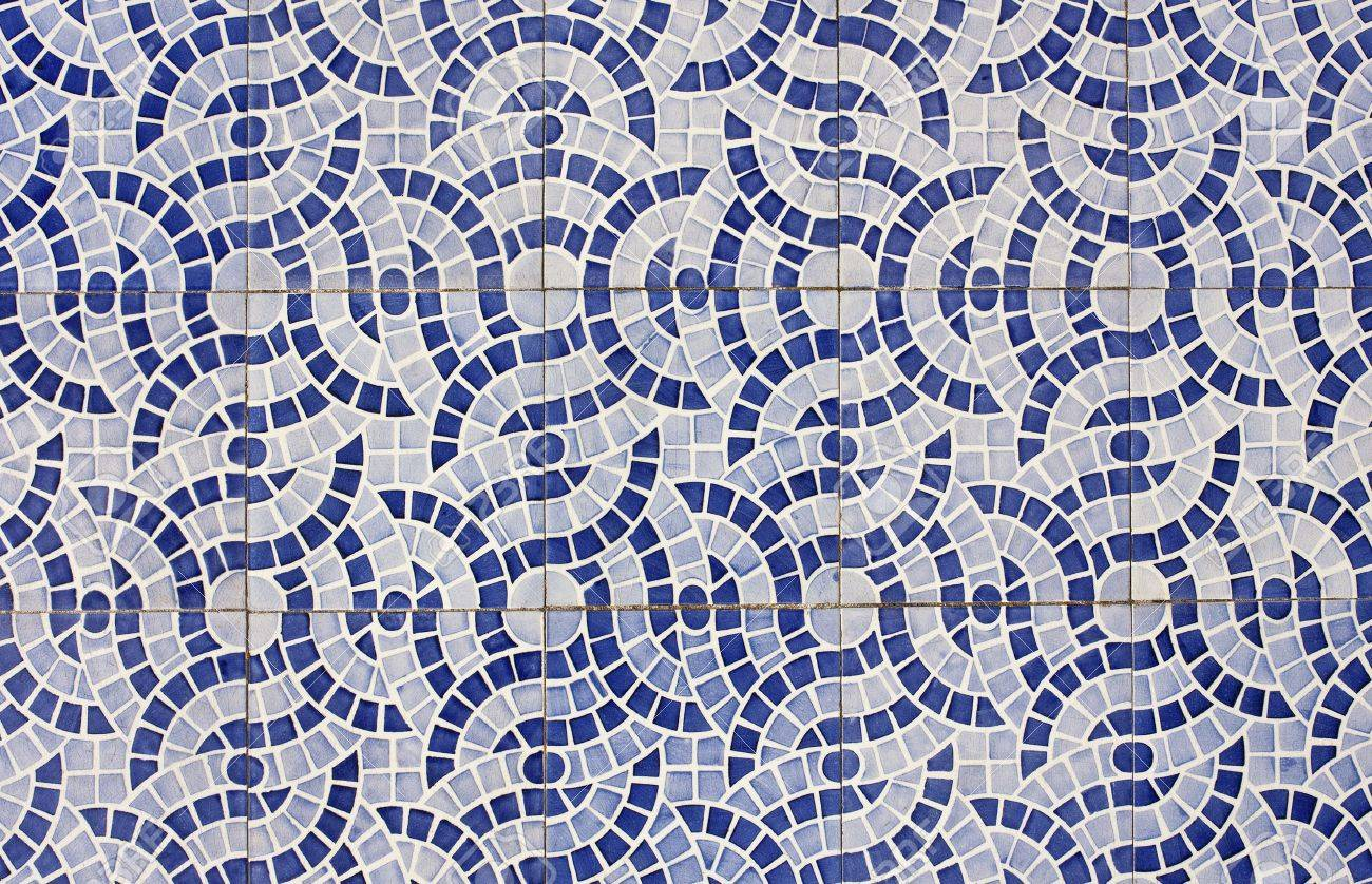 Mosaic of old tiles with abstract design in two shades of blue Stock Photo - 13604987