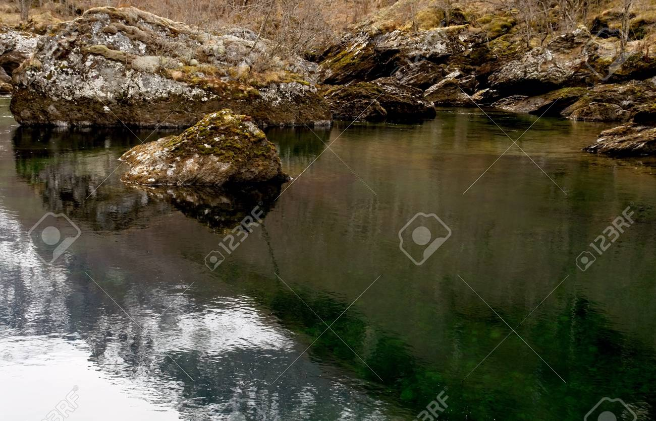 River calm streem in winter rocky lanscape, Norway Stock Photo - 15626426