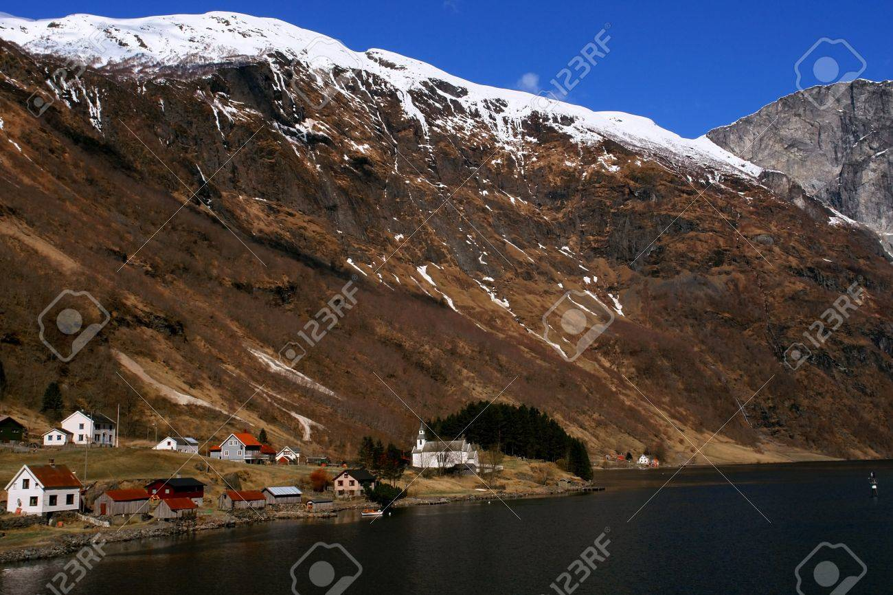 Gudvangen fjord landscape, village in the mountain,  Norway Stock Photo - 15626380