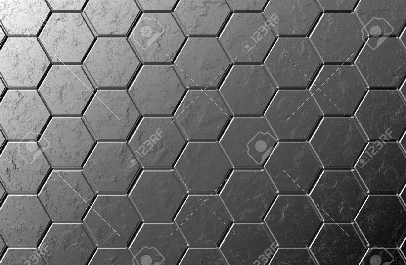 Hexagons Black Screen Background Texture With Marble Stock Photo