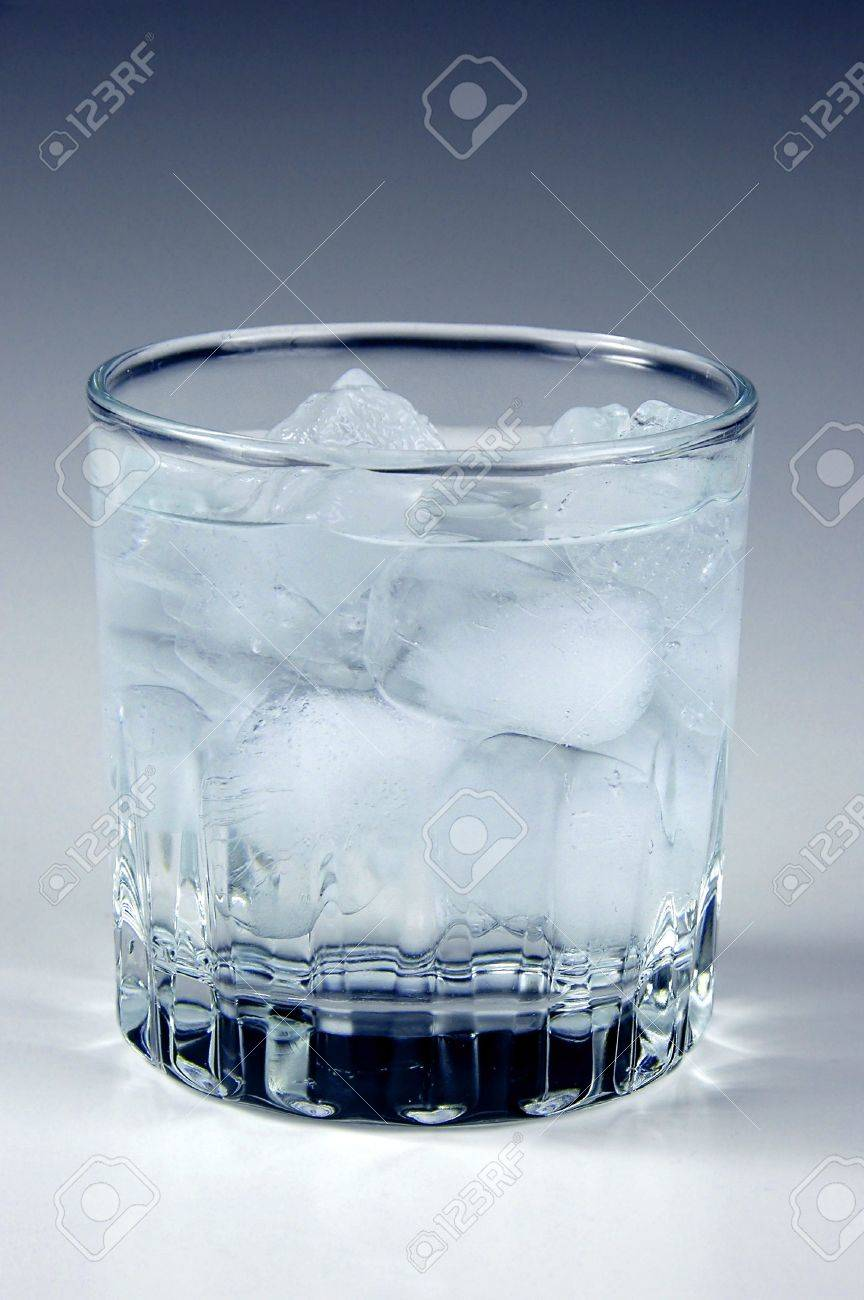 bd21b24286a Ice water in a glass with neutral background Stock Photo - 1125021