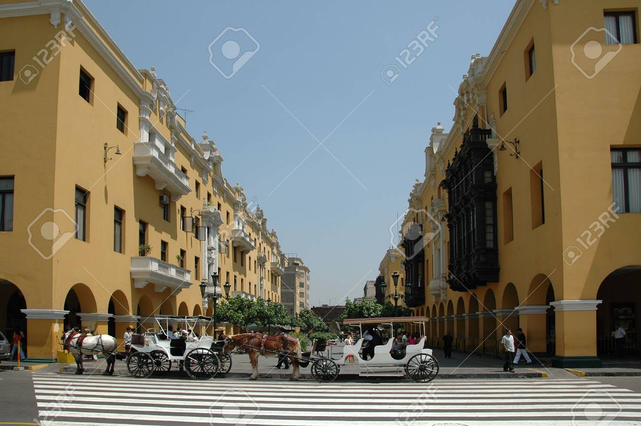 View of downtown Lima Peru with wagons and horses Stock Photo - 1125103