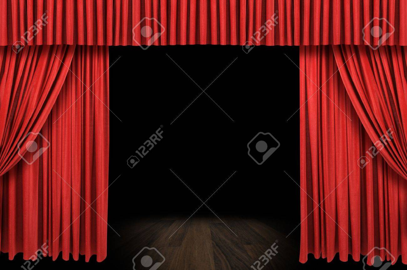 Empty stage curtains with lights - Stage Curtain Large Red Curtain Stage Opening With Dark Background Stock Photo
