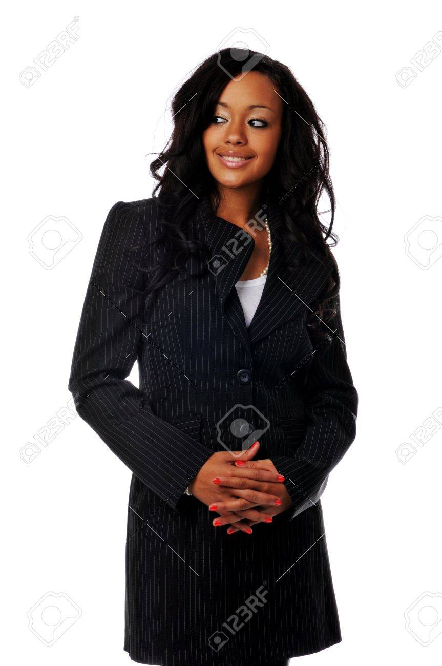 Young African American businesswoman smiling isolated against a white background Stock Photo - 7961551