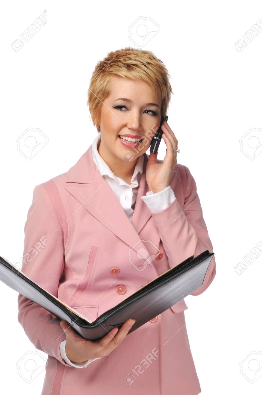 Young businesswoman smiling on the cell phone isolated on a white background Stock Photo - 7961738