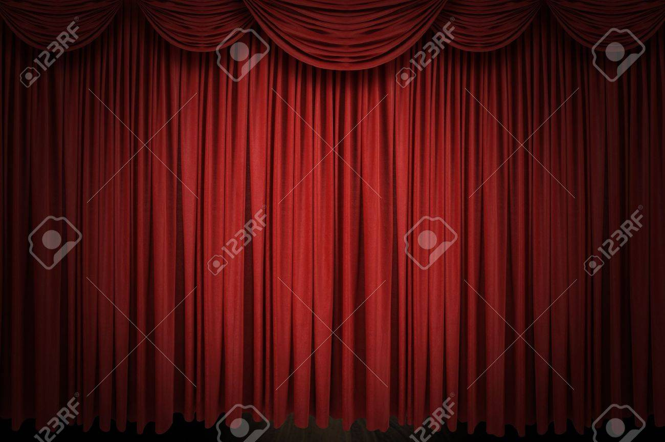 Red stage curtain with lights - Large Red Curtain Stage Opening With Spot Lights And Dark Background Stock Photo 8043009