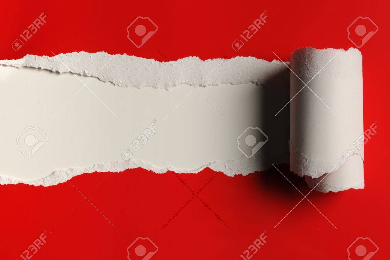 Rip red Paper and white bakground with space for text Stock Photo - 8220873