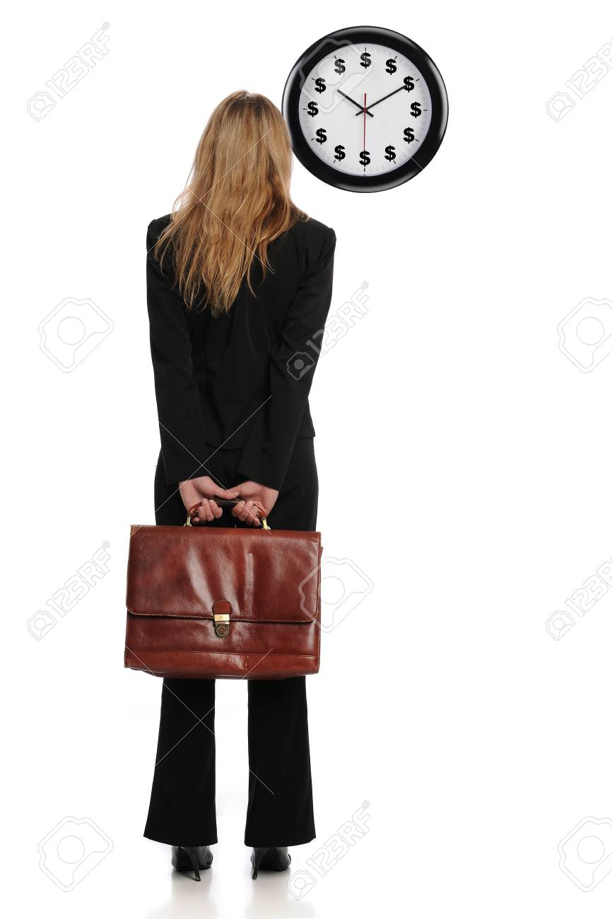 Businesswoman looking at a dollar clock as a concept that time is money Standard-Bild - 8295348