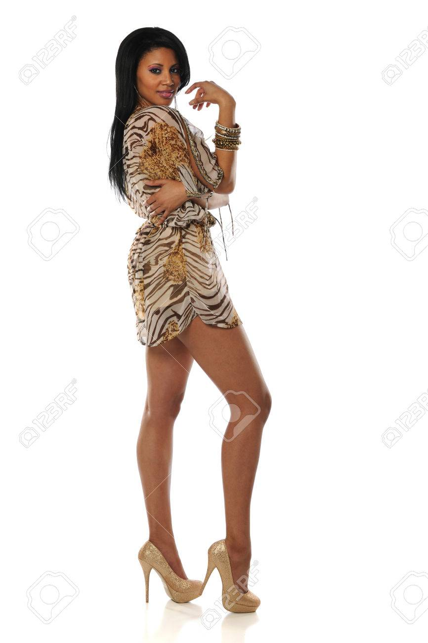 Beautiful African American Woman Wearing A Short Dress And High