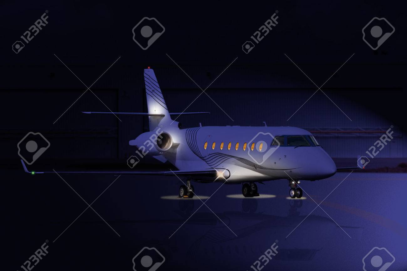 Private jet at night on the runway - 47838442