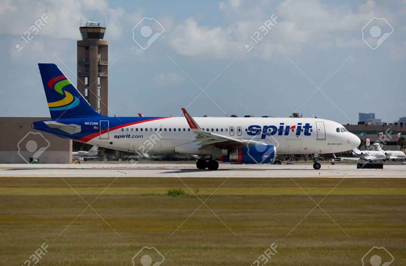 FORT LAUDERDALE, USA - JUNE 2, 2015: A Spirit Airlines Airbus A320 taxiing at the Ft. LauderdaleHollywood International Airport, FL. Spirit Airlines has its operating base in Fort Lauderdale. - 49163708