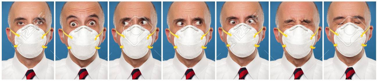 Sequence photos of a man wearing a protective mask - 49154227