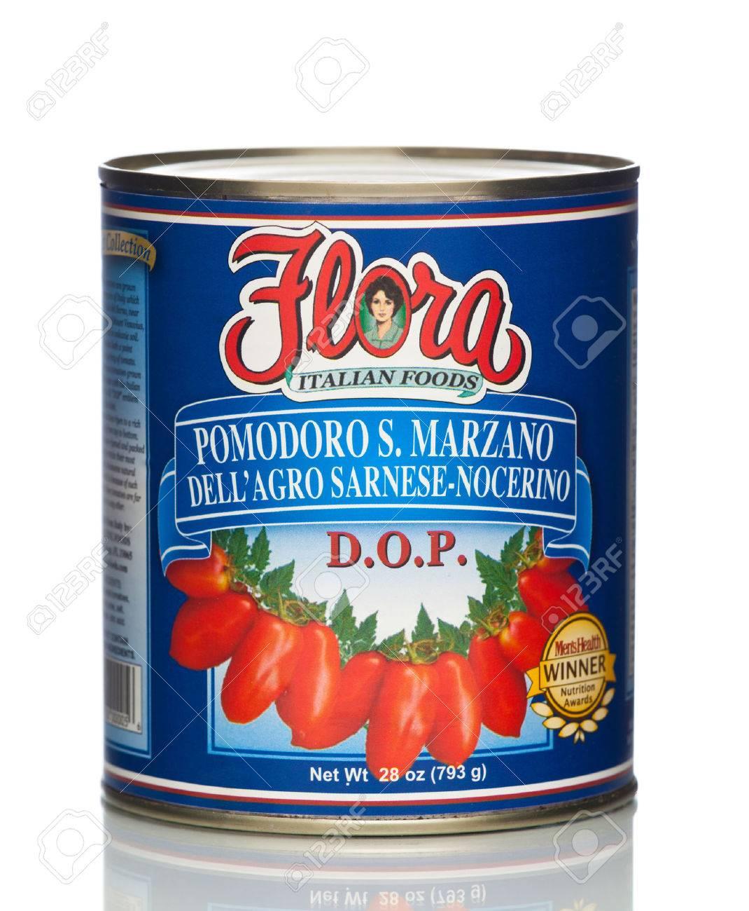 MIAMI, USA - JAN 26, 2015: 28 oz. Flora San Marzano Tomatoes. Authentic Italian Tomato. No cholesterol. This product contains lycopene, an antioxidant that promotes health. All natural. - 47830337