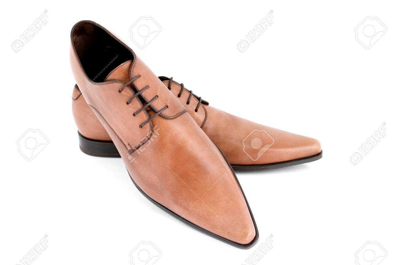 Brown Pointy Shoes With Shallow Depth