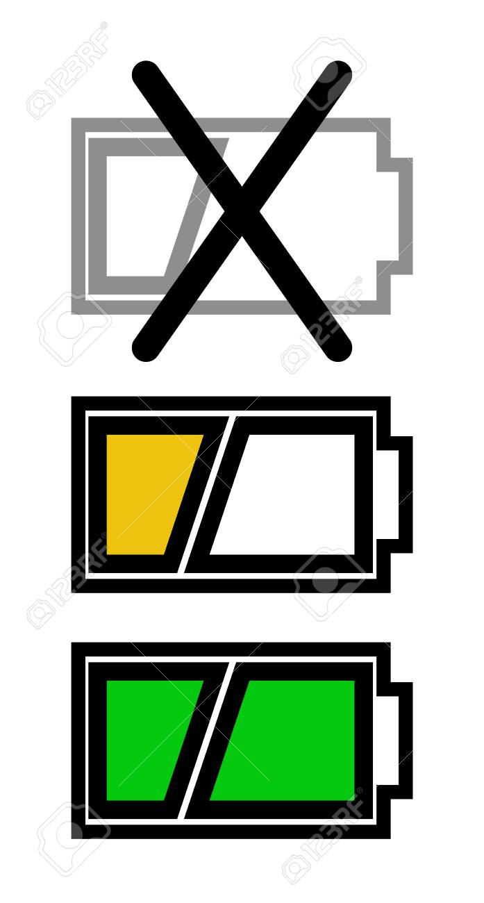 A Set Of Three Icons To Show The Charge Level Of The Battery