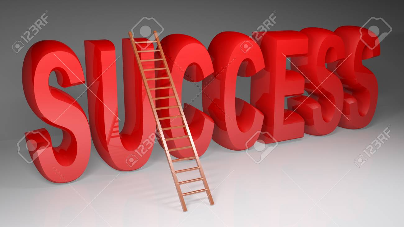 A Wooden Ladder Is At The Word Success Written With Red Glossy