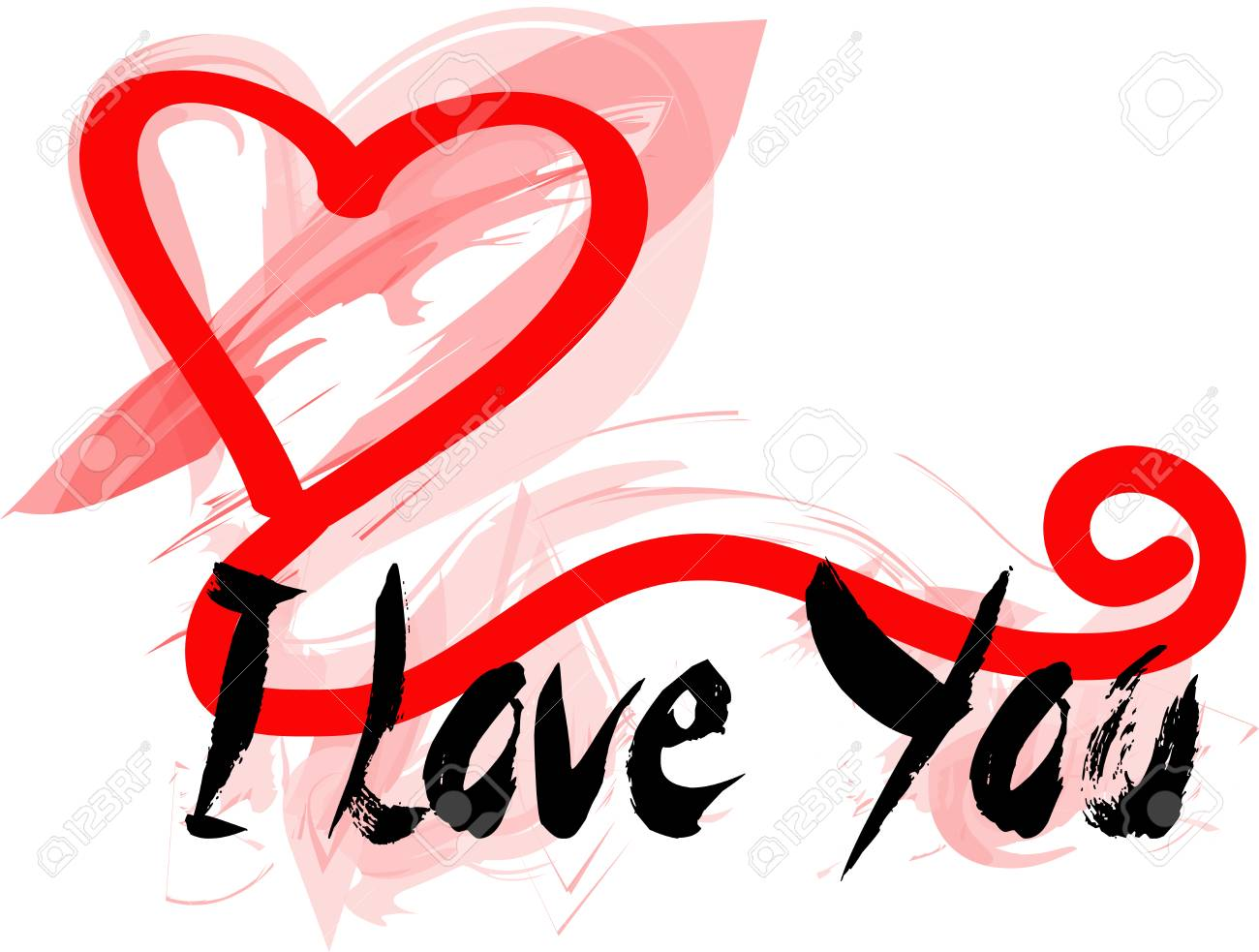 Graffiti for a greeting card with i love you stock vector 93238785