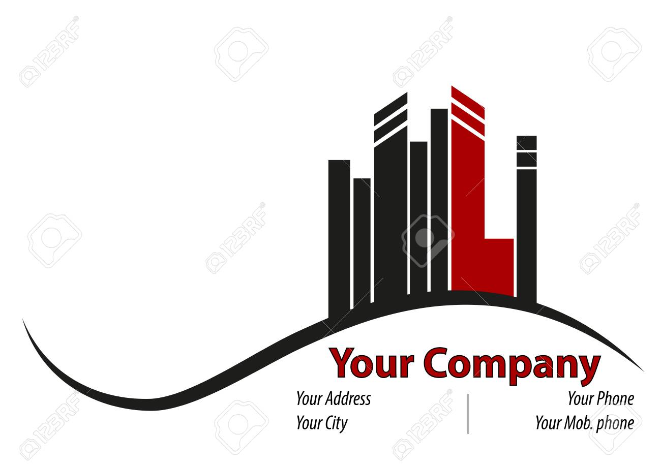 A Business Card With Some High Buildings On A Hill After A Valley