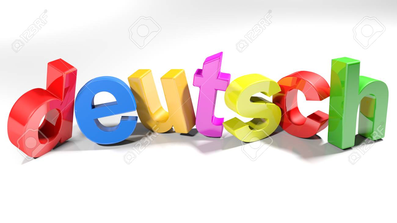 the german word deutsch written with 3d colorful letters isolated