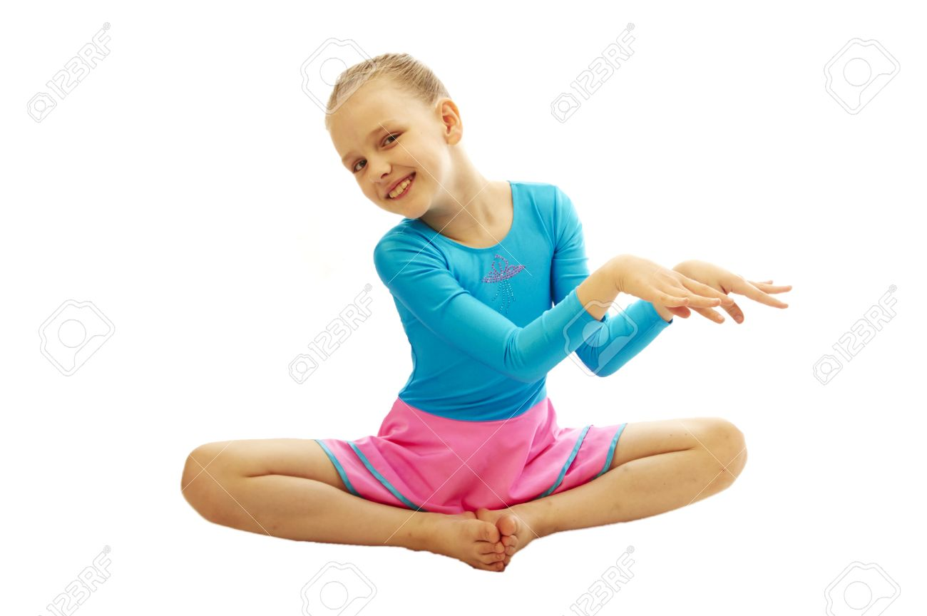 3c0bc12ee Young Smiling Preteen Girl Doing Gymnastics Stretching Exercises ...